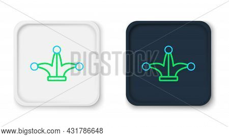 Line Joker Playing Card Icon Isolated On White Background. Jester Hat With Bells. Casino Gambling. C