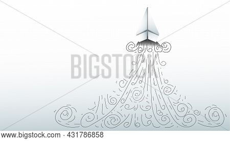 Paper Plane And Business Strategy On White Background, Business Success,idea And Concept Creativity