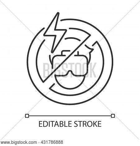 Do Not Use If The Headset Causes Headache Linear Manual Label Icon. Thin Line Customizable Illustrat