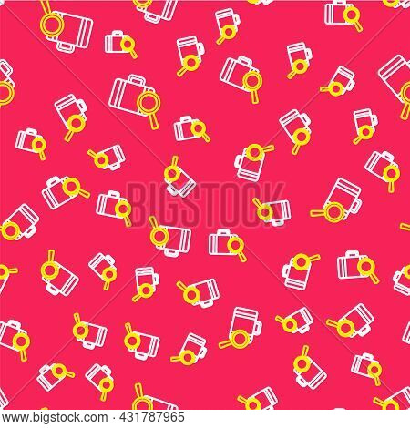 Line Airline Service Of Finding Lost Baggage Icon Isolated Seamless Pattern On Red Background. Searc