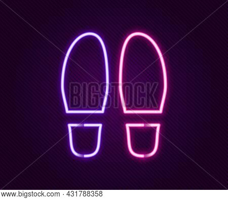 Glowing Neon Line Footsteps Icon Isolated On Black Background. Detective Is Investigating. To Follow