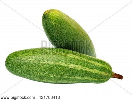 Pointed Gourd Or Parwal Of Indian Subcontinent Over White Background
