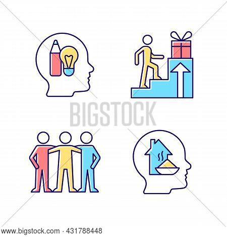 Motivational Boosters Rgb Color Icons Set. Reward And Affiliate Motivation. Human Basic Needs. Desir