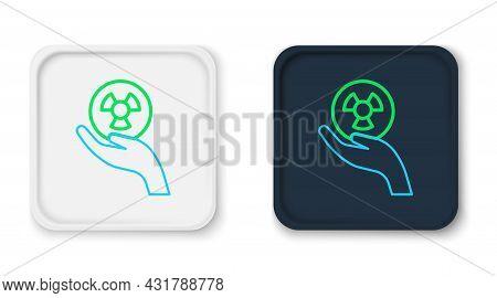 Line Radioactive In Hand Icon Isolated On White Background. Radioactive Toxic Symbol. Radiation Haza