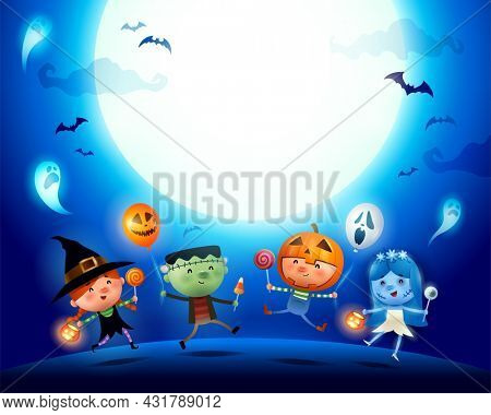 Halloween Kids Costume Party. Group of kids in Halloween costume jumping under the moonlight.