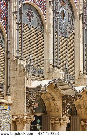 Central Market Facade In Valencia. Modernism Style. Architecture Landmark. Spain