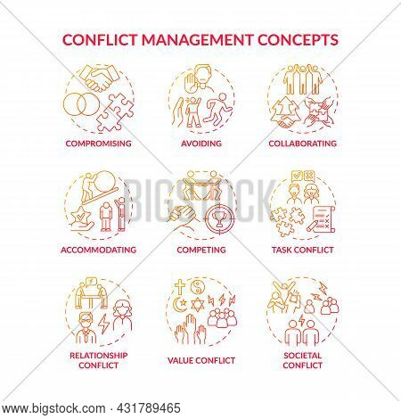 Conflict Management Red Gradient Concept Icons Set. Solving Relationship Issues. Work Relations. Res