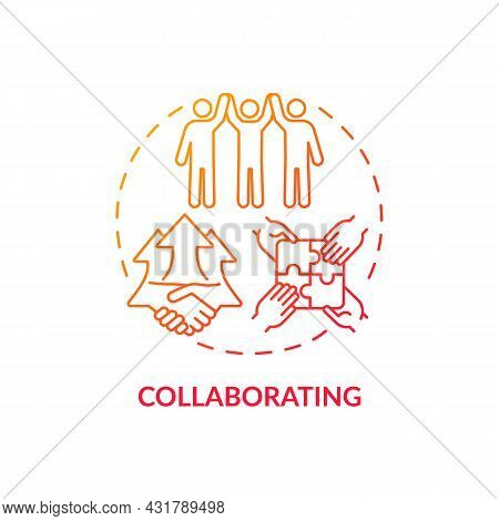 Collaborating Red Gradient Concept Icon. Team Cooperation. Productive Relationship Style. Conflict M