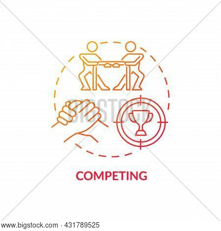 Competing Red Gradient Concept Icon. Rivalry At Workplace. Competitive Relationships. Conflict Manag