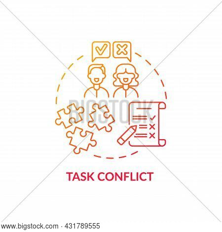 Task Conflict Red Gradient Concept Icon. Coworkers Disagree On Group Assignment. Team Dispute. Confl