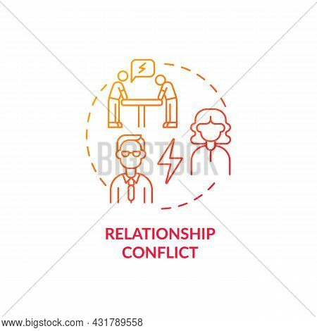 Relationship Conflict Red Gradient Concept Icon. Employee Rivalry On Workplace. Coworkers Fighting.