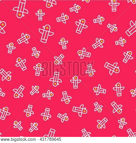 Line Canadian Totem Pole Icon Isolated Seamless Pattern On Red Background. Vector