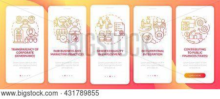 Csr Matters Red Gradient Onboarding Mobile App Page Screen. Corporate Liability Walkthrough 5 Steps