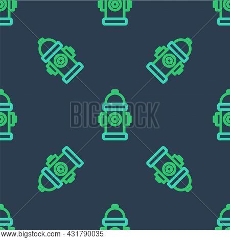 Line Fire Hydrant Icon Isolated Seamless Pattern On Blue Background. Vector