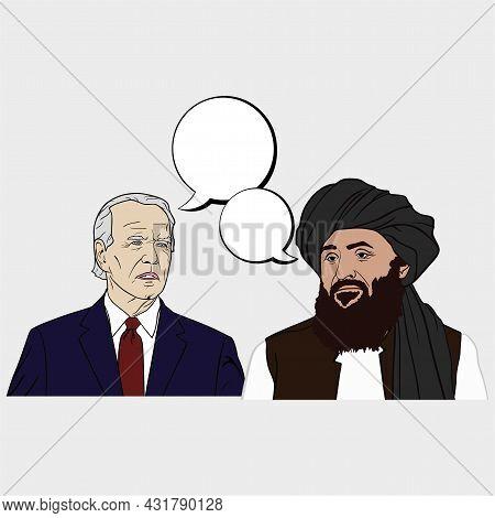Abdul Ghani Baradar The Leader Of The Taliban And Joe Biden The President Of America Flat Design Vec