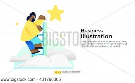 Businessman Standing On Ladder Stairs And Reaches The Star On The Sky For Goals, Career And Dreams V