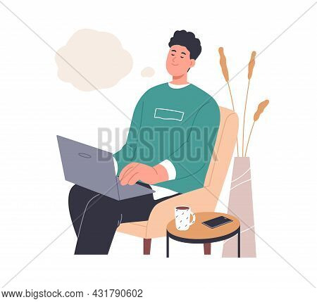 Happy Inspired Person Dreaming And Creating Ideas While Typing Smth On Laptop. Creative Dreamy Man T