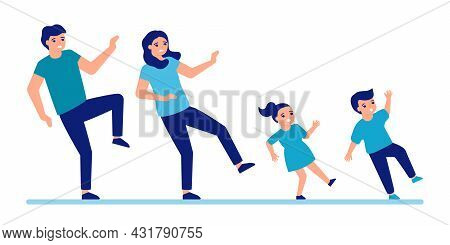 Man, Woman And Children Slip And Fall Down To Floor. Slippery Floor For People. Family Fail And Fall