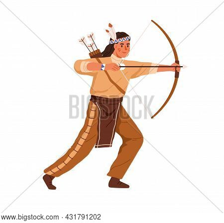 Native Indian American Archer Shooting With Bow And Arrows. Traditional Man Hunter From West America