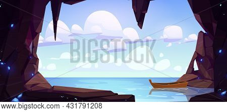 Cave Seaview Landscape With Lonely Wood Boat Float On Water Surface. Hole In Rock With Ocean, Mounta