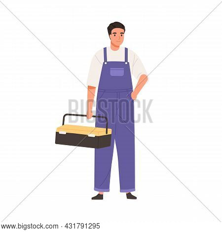 Repairman In Overall Portrait. Master Standing With Toolbox. Professional Home Worker. Handyman In U