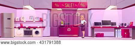 Home Appliances Store With Household Equipment, Counter With Cashbox And Woman Seller. Vector Cartoo