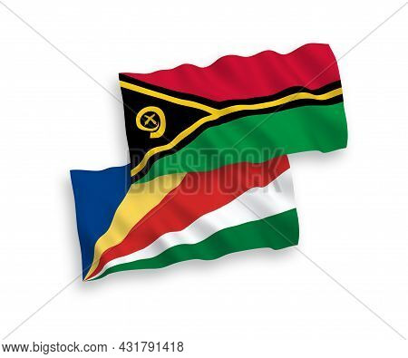 National Fabric Wave Flags Of Republic Of Vanuatu And Seychelles Isolated On White Background. 1 To
