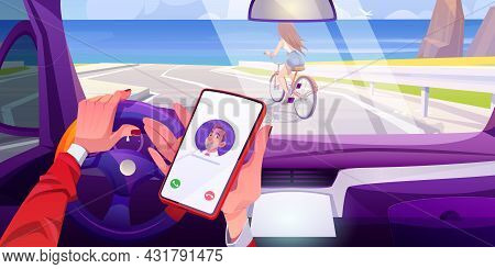 Driver Hands Holding Mobile Phone In Car While Steering Automobile Along Highway With Girl Riding On