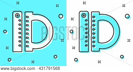 Black Line Protractor Grid For Measuring Degrees Icon Isolated On Green And White Background. Tilt A