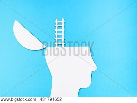 Uplifting Concept, Paper Cut Open Head With Ladder Up