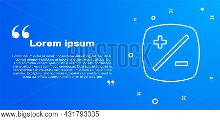 White Line Exposure Compensation Icon Isolated On Blue Background. Vector