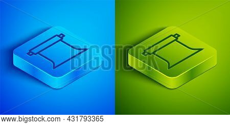 Isometric Line Empty Photo Studio Icon Isolated On Blue And Green Background. Screen Backdrop. Squar