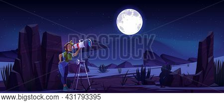 Woman Look In Telescope, Curious Young Girl Explore Moon And Stars On Dark Night Sky. Astronomy Scie
