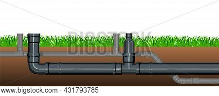 Pipeline For Various Purposes. Lawn Grass. Underground Part Of System. Isolated Illustration Vector.