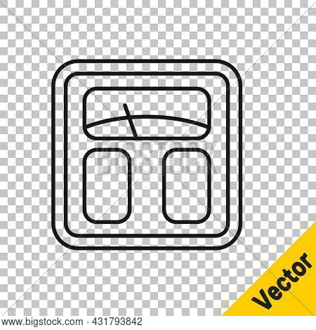 Black Line Bathroom Scales Icon Isolated On Transparent Background. Weight Measure Equipment. Weight