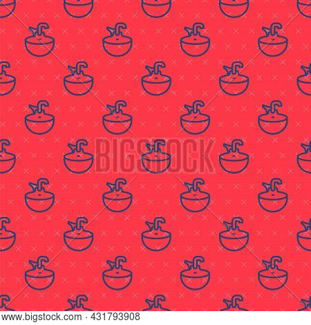Blue Line Washbasin Icon Isolated Seamless Pattern On Red Background. Barber Washing Chair With Wash