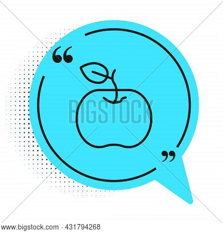 Black Line Apple Icon Isolated On White Background. Excess Weight. Healthy Diet Menu. Fitness Diet A