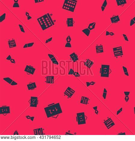 Set Chalkboard, Calendar, Eraser Or Rubber And Fountain Pen Nib On Seamless Pattern. Vector