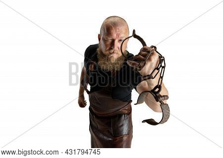 Close-up Muscular Bearded Bald Man, Blacksmith Wearing Leather Apron Or Uniform Isolated On White St