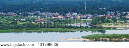 Panoramic View Of The Village Of Kokshaisk From The Opposite High Shore Of The Volga River