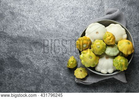 Fresh Ripe Pattypan Squashes On Grey Table, Flat Lay. Space For Text