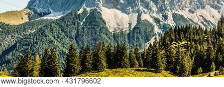 Idyllic Landscape In The Alps With Fresh Green Meadows, Blooming Flowers, Typical Farmhouses And Sno