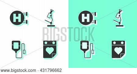 Set Doctor Appointment, Hospital Signboard, Iv Bag And Microscope Icon. Vector