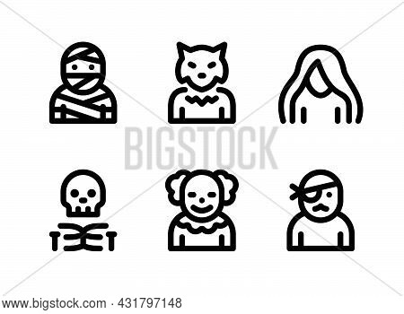 Simple Set Of Halloween Related Vector Line Icons. Contains Icons As Mummy, Werewolf, Ghost And More