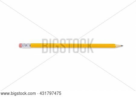Yellow Wooden Pencil With Eraser, Isolated On White Background
