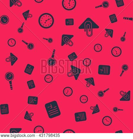 Set Exam Paper With Incorrect Answers, Clock, Unknown Search And Paper Clip On Seamless Pattern. Vec