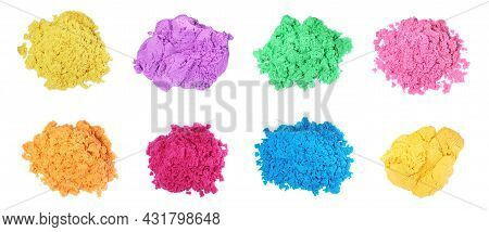Set With Piles Of Colorful Kinetic Sand On White Background, Top View. Banner Design