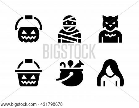 Simple Set Of Halloween Related Vector Solid Icons. Contains Icons As Mummy, Werewolf, Ghost And Mor