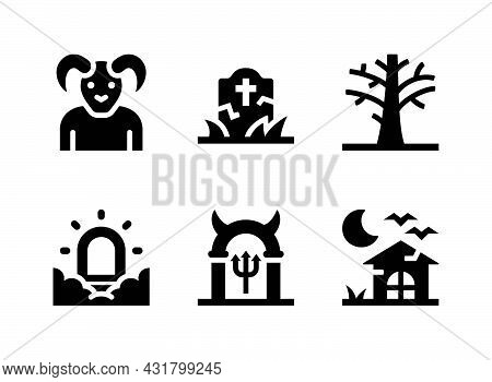 Simple Set Of Halloween Related Vector Solid Icons. Contains Icons As Tombstone, Dead Tree, Haunted