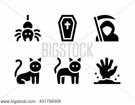 Simple Set Of Real Estate Related Vector Solid Icons. Contains Icons As Coffin, Grim Reaper, Zombie
